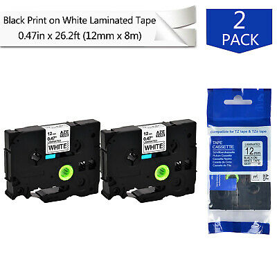 2PK TZ TZe-231 Black on White Label Tape For Brother P-Touch PT-550 PTE550W 12mm