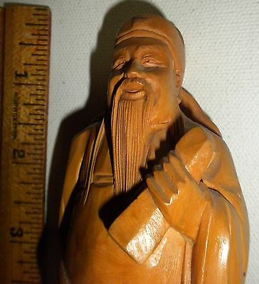 Vintage Japanese Hand Carved Figurine Of Old Wise Man!