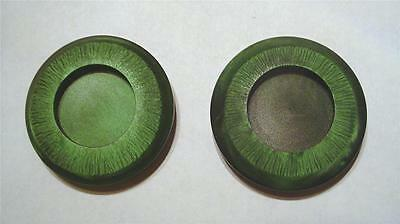 "SET OF 2 VINTAGE 70's LARGE GREEN/DARK GREEN MARBLED 1 3/8"" ROUND SEWING BUTTONS"