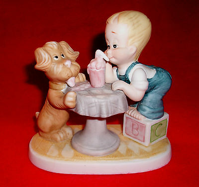 Vintage 1986 GT & Friends SHARING porcelain figure Boy and his Dog ice cream
