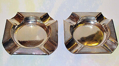 2 x Sterling Silver Ash Trays by Edward Viner Sheffield 1938