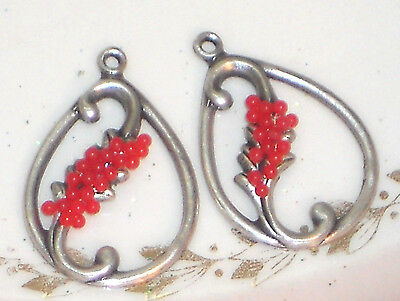 #1473D Vintage Leaf Findings Connectors Silver Victorian Red Berries Glass Ox