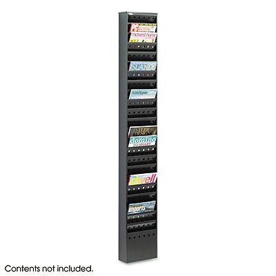 Safco Steel Magazine Wall Rack, 23 Compartments, 10w x 4d x 65.5h, Black, 4322BL