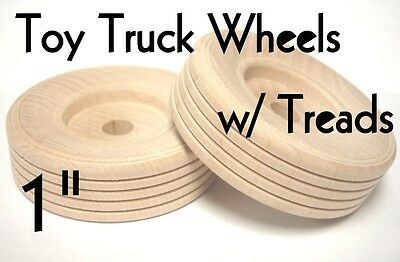 "1"" Wood Truck Wheels w/ Wooden Treads ~ Toy Parts ~ Lot of 12 to 100 by PLD"