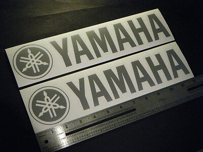 """Yamaha Outboards Boats Silver Decal 12"""" Stickers (Pair)"""