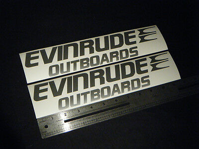 """Evinrude Outboards Silver Decal 12"""" Stickers (Pair)"""