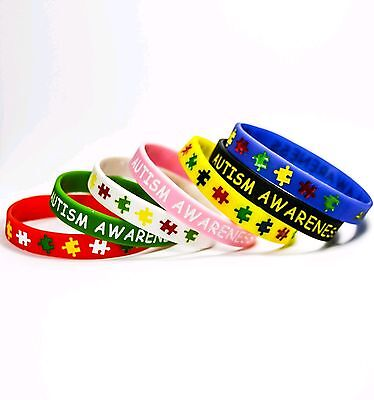 Autism awareness medical alert silicone wristband Adult bracelet puzzle charity