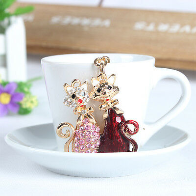 Lovely Double Cat Fashion Charm Pendent Rhinestone Crystal Purse Bag Key Chain