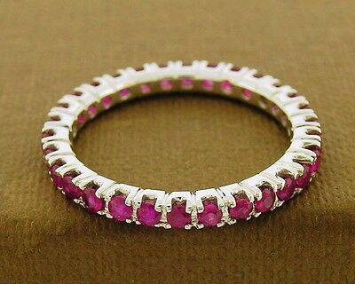 R122- Genuine 9K SOLID White Gold NATURAL Ruby FULL Eternity Ring Band size N