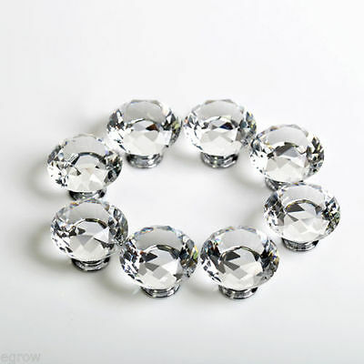 10Pcs 30mm Clear Diamond Crystal Glass Pull Handle Cabinet Drawer Door Knob Uni