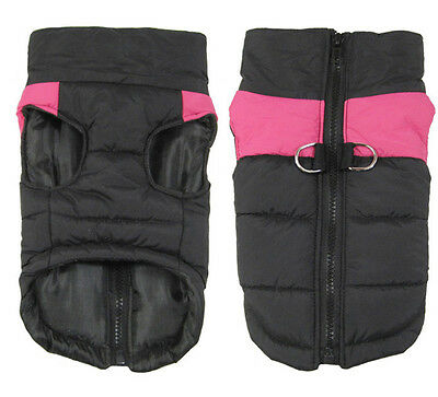 Large Waterproof Dog Coat Jacket Winter Quilted Padded Puffer Rose L