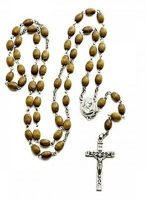 Real Olive wood Rosary beads from Bethlehem includes soil earth from Jerusalem