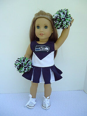 Seattle Seahawks Cheerleader,Gyms Shoes, Pompoms fit American Girl