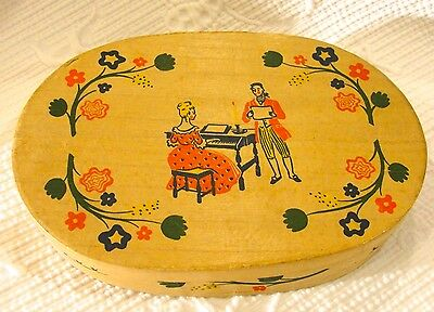 Vintage Early American Old Spice Box by Shulton Man Woman Piano