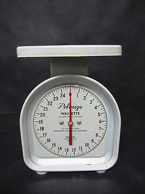Vintage Scale - Pelouze 25lb. w/ 1 oz. markings - Sterile White - dated 1954