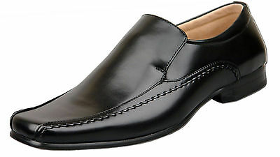 Mens New Black Leather Lined Slip On Formal Dress Shoes Size 6 7 8 9 10 11 12