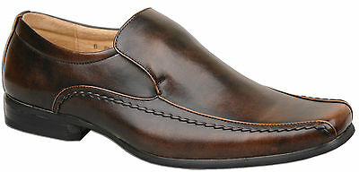 Mens New Brown Leather Lined Slip On Formal Dress Shoes Size 6 7 8 9 10 11 12