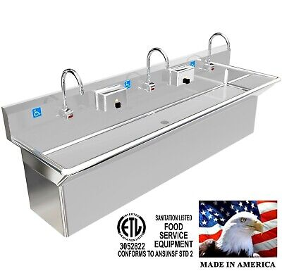 """Ada 3 Users 72"""" Hand Wash Sink Elec Faucet Hiding Plumbing Skirt Made In Usa"""