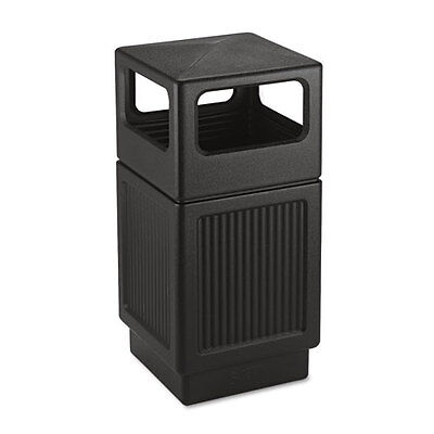 Safco Canmeleon Waste Receptacle, Garbage Can, Side Open Bin 38 Gal Black 9476BL
