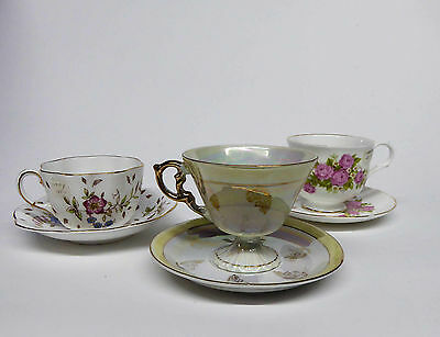 3 Vintage Tea Cup & Saucer - Beautiful Colors Nice Designs  OLD England & Japan