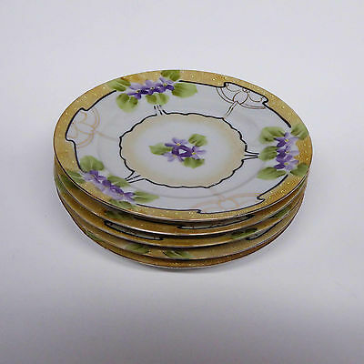 "5 Beautiful Hand-Painted Nippon China Plates, 7 1/4"", E-OH"