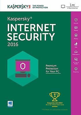 Kaspersky Internet Security 2016 1PC / 1Year | Download | No Cd | Antivirus