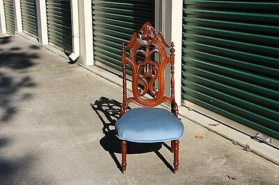 Gorgeous Large Walnut Victorian Rococo Slipper Chair w Lyre Carved Back ~Ca.1860