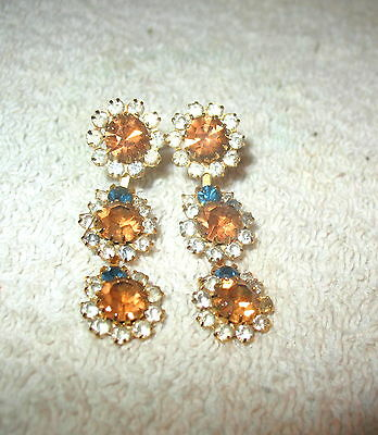 Collectible Vintage Estate Signed Weiss Topaz Amber Rhinestone Gold Tone Earring