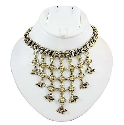 Antique Vintage Gold Tone Ethnic Brass Metal Choker Necklace Fashion Jewelry