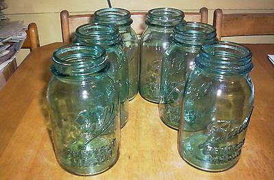 6 BLUE BALL 1 QUART PERFECT MASON JARS, NUMBERS - ALL ARE LUCKY # 7