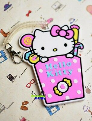 Cute Hello Kitty Candy PVC ID Card Credit Card Holder Pink