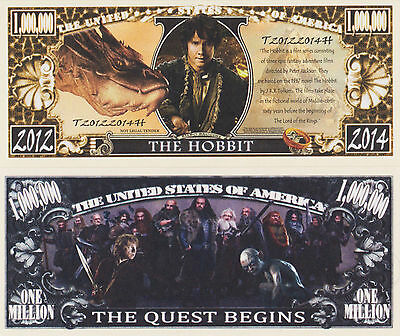 RARE: The Hobbit $1,000,000 Novelty Note, Movies/Film Series Buy 5 Get one FREE