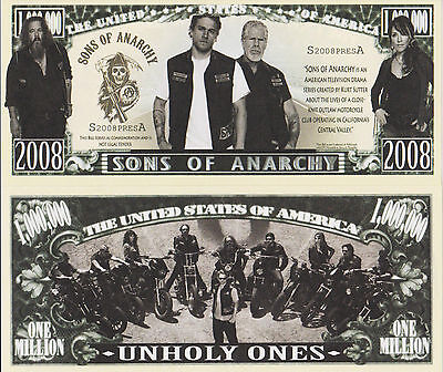 RARE: Sons Of Anarchy $1,000,000 Novelty Note, TV Show/Bikes Buy 5 Get one FREE