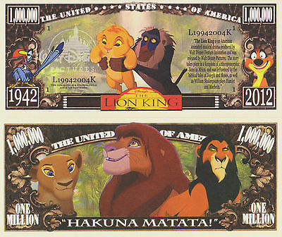 RARE: The Lion King $1,000,000 Novelty Note, Kids Movies Buy 5 Get one FREE