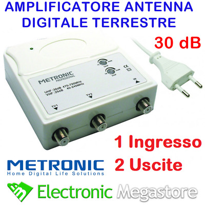 AMPLIFICATORE ANTENNA TV ALIMENTATO DI LINEA DA INTERNO 2 OUT 30dB 414113