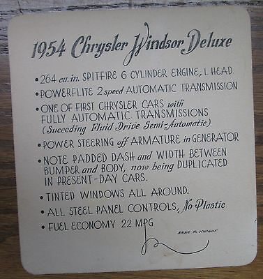 1954 Chrysler Windsor Deluxe Cardboard Sign Showing Feathers