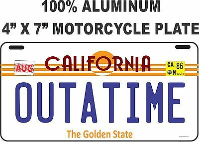 """Back to the Future / Delorean / OUTATIME LICENSE PLATE - MOTORCYCLE PLATE 4""""X7"""""""