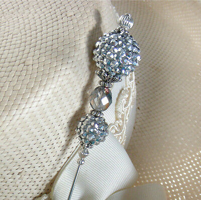 SPARKLING SILVER RHINESTONES BERRIES AND CRYSTAL ON SILVER FINISH HATPIN - 8 IN.