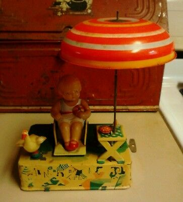 1930's 1950's TIN WIND UP LITHO CELLULOID TIN TOY HAPPY LIFE / TIMES #1080 JAPAN