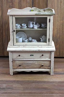 Vintage Wooden Doll China Cabinet 1950's with china tea sets