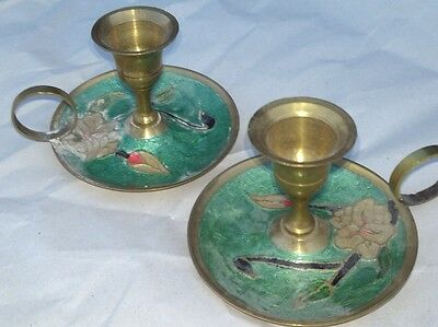 Antique Candlestick Holder green painting Copper Brass Rivets