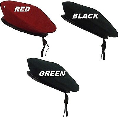 """Beret """"Monty"""" RED-GREEN-BLACK G.I Style Military Army Wool Hat 45991-45992-45993"""