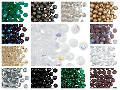 CHOOSE COLOR! 25pcs 8mm Fire Polished Faceted Round Beads Czech Glass