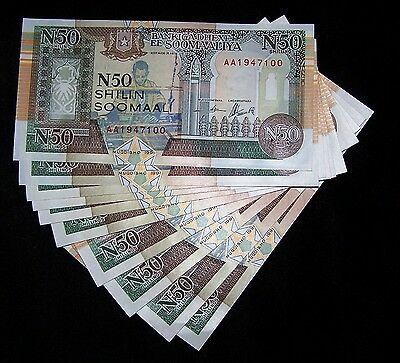 10 x SOMALIA #R2 1991 50 SHILLINGS UNC CURRENCY/BANKNOTE/ PAPER MONEY
