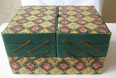 Vintage SEWING BOX FABRIC FOLD OUT EXPANDABLE for Crafts Sewing Needs