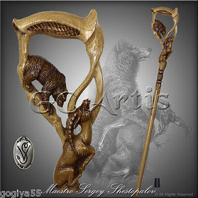 TOP ART AUTHORS BEAR & GAZELLE HANDLE CARVED SOLID WOOD WALKING STICK CANE 37-38