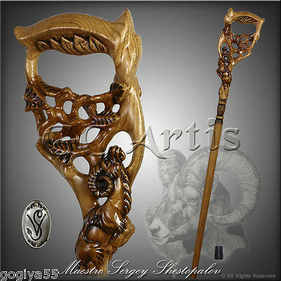 HANDMADE WALKING STICK CANE HIKING STAFF HANDLE CARVED CRAFTED WOODEN RAM TREE L