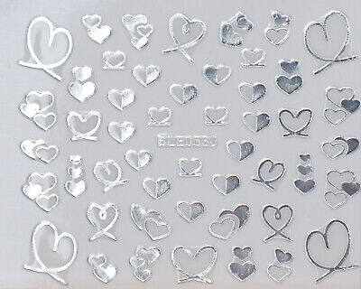 Silver Glitter Hearts Loves 3D Nail Art Stickers Decals UV Acrylic Decoration