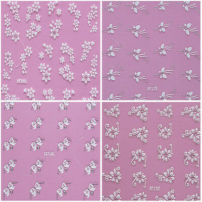 Clear Rhinestones White Flowers Butterfly Bows Roses 3D Nail Art Stickers Decals