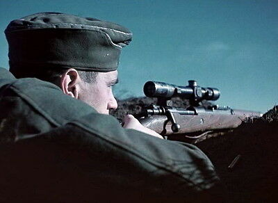 COLOR 8 x 10 WWII Photo German Sniper with Mauser Rifle Wehrmacht   WW2 / 2127
